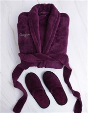 Personalised Purple Fleece Gown And Slipper Set