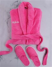 Personalised Hot Pink Fleece Gown And Slipper Set