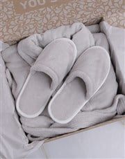 Personalised Rose Fleece Gown and Slipper Set