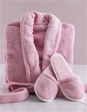 Personalised Floral Pink Fleece Gown Gift Set