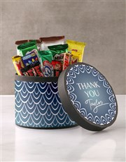 Personalised Thank You Blue Pattern Hat Box