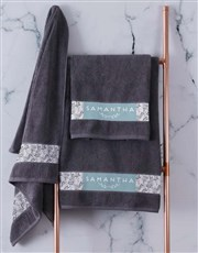 Personalised Protea Charcoal Towel Set