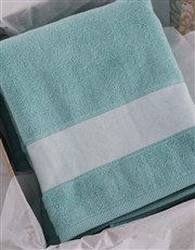 Personalised Protea Duck Egg Towel Set