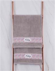 Personalised Floral Stone Towel Set