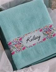 Personalised Floral Duck Egg Towel Set