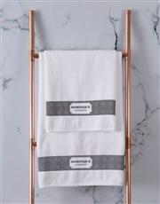 Personalised Damask White Towel Set