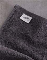 Personalised Damask Charcoal Towel Set
