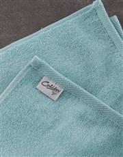 Personalised Modern Name Duck Egg Towel Set