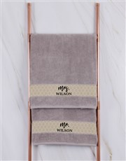 Personalised Mr and Mrs Stone Towel Set