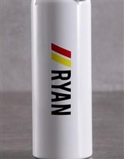 Personalised White Racing Stripe Waterbottle