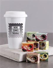 Personalised Here Comes Trouble  Ceramic Travel Mu