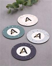Personalised  Mongrame Patern Coaster Set