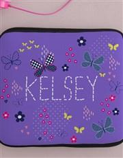 Personalised Neoprene Butterflies Tablet Cover