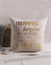 Personalised Gold Foil Braver Scatter Cushion
