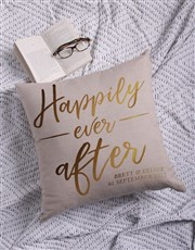 Personalised Gold Foil Ever After Scatter Cushion