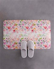 Personalised Floral Own Message Bath Mat