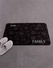 Personalised Damask Family Name Bath Mat