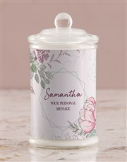 Personalised Watercolour Floral Candle Jar
