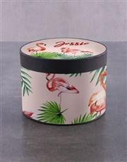 Personalised Fluffy Flamingo Choc Hat Box