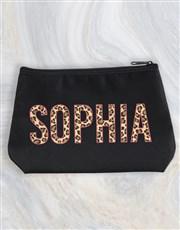 Personalised Animal Print Cosmetic Bag