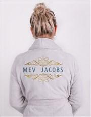 Personalised Mev Grey Fleece Gown