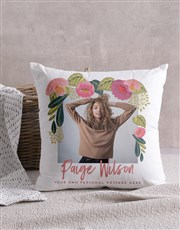 Personalised Floral Photo Scatter Cushion