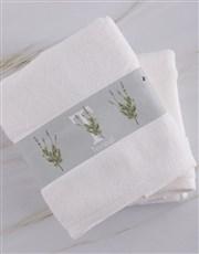 Personalised Green Leaves White Towel Set