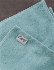 Personalised Green Leaves Duck Egg Towel Set