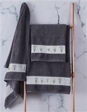 Personalised Green Leaves Charcoal Towel Set
