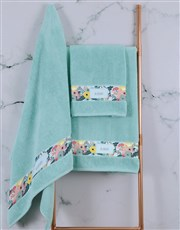 Personalised Bright Floral Duck Egg Towel Set