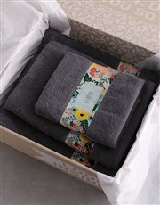 Personalised Bright Floral Charcoal Towel Set