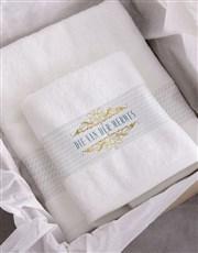 Personalised Mnr & Mev White Towel Set