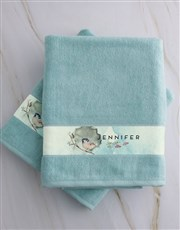 Personalised Watercolour Duck Egg Towel Set