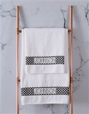 Personalised Glam Ethnic White Towel Set