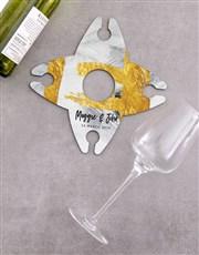 Personalised Glass Half Full Wine Glass & Bottle H