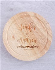 Personalised Couples Cheese Board with Knives