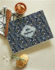 Personalised Black Floral Glass Chopping Board