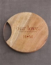 Personalised Our Love Round Chopping Board
