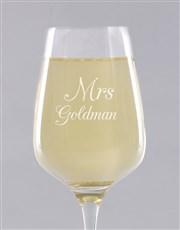 Personalised Mrs Wine Glass Single