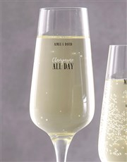 Personalised All Day Champagne Glass Set