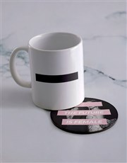 Personalised Future Is Female Mug & Coaster Set