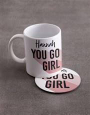 Personalised You Go Girl Mug & Coaster Set