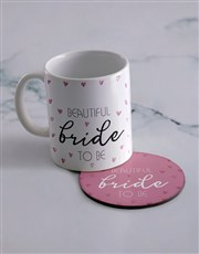 Personalised Bride Mug & Coaster Set