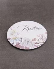 Personalised Flowers Mug  & Coaster Set