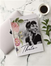 Personalised Photo Floral Ring Bound Notebook