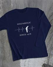 Personalised Golfaholic Long Sleeve T Shirt