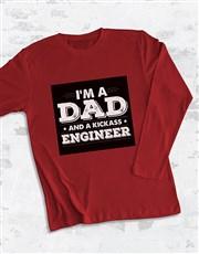 Personalised Dad and Kickass Long Sleeve T Shirt