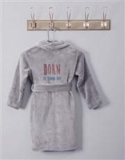 Personalised Born To Grey Fleece Kids Gown