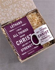 Personalised Strength in Christ Mug and Notebook