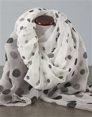 Spot Scarf With Red Floral Bath Set